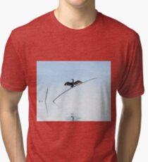 Cormorant drying its wings, SanFeliciano, Lago Trasimeno, Umbria, Italy Tri-blend T-Shirt