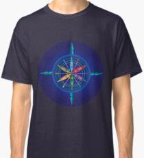 Kajak-Kompass Rose auf Blau Classic T-Shirt