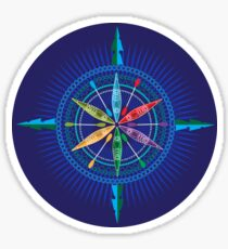 Kayak Compass Rose on blue Sticker
