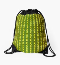Yellow Ribbons on Camouflage Drawstring Bag