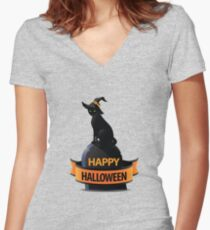 Happy halloween Women's Fitted V-Neck T-Shirt