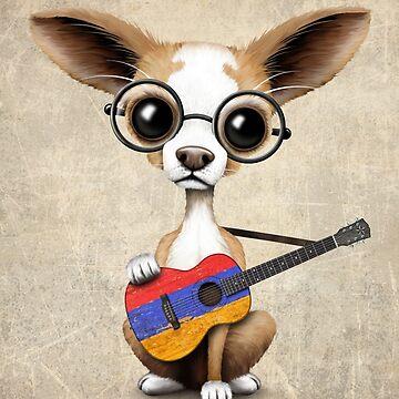 Chihuahua linda que toca la guitarra de la bandera armenia de JeffBartels