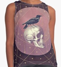 Crow and Skull Collage Contrast Tank