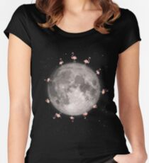 Flamingos On The Moon Women's Fitted Scoop T-Shirt