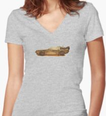 Lost in the Wild Wild West! (Golden Delorean Doubleexposure Art) Women's Fitted V-Neck T-Shirt