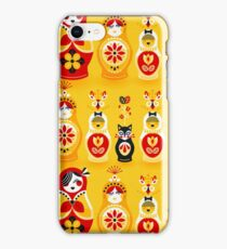 Russian Nesting Dolls – Yellow & Red iPhone Case/Skin