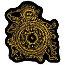 TamDin Buddhist Protective Charm gold on black by Hedrin