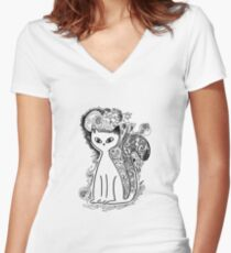 Funny floral pattern cats Women's Fitted V-Neck T-Shirt