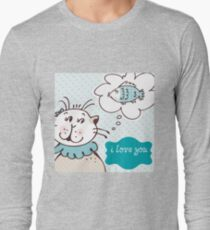 Cat loves fish card graphic Long Sleeve T-Shirt