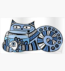 Funny floral pattern cats Poster