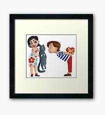 Valentine kiss cat Framed Print