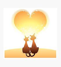 Cat love valentine Photographic Print
