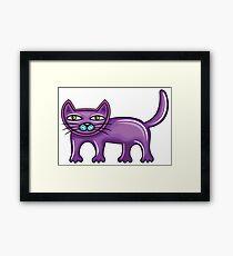 Cartoon purple cat Framed Print