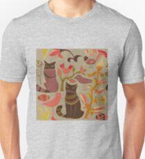 Cartoon decorative style birds cats T-Shirt