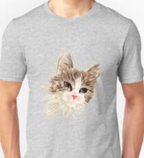 Brown cat painting Slim Fit T-Shirt