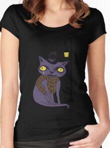 Sad Cat with Moonlight Memories Women's Fitted Scoop T-Shirt