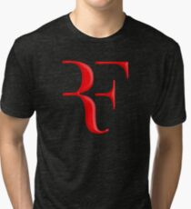 rf, roger federer, roger, federer, tennis, wimbledon, grass, tournament, ball, legend, sport, australia, nadal, net, cool, logo, perfect. Tri-blend T-Shirt