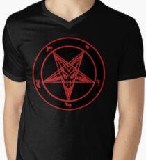 Red Baphomet Men's V-Neck T-Shirt