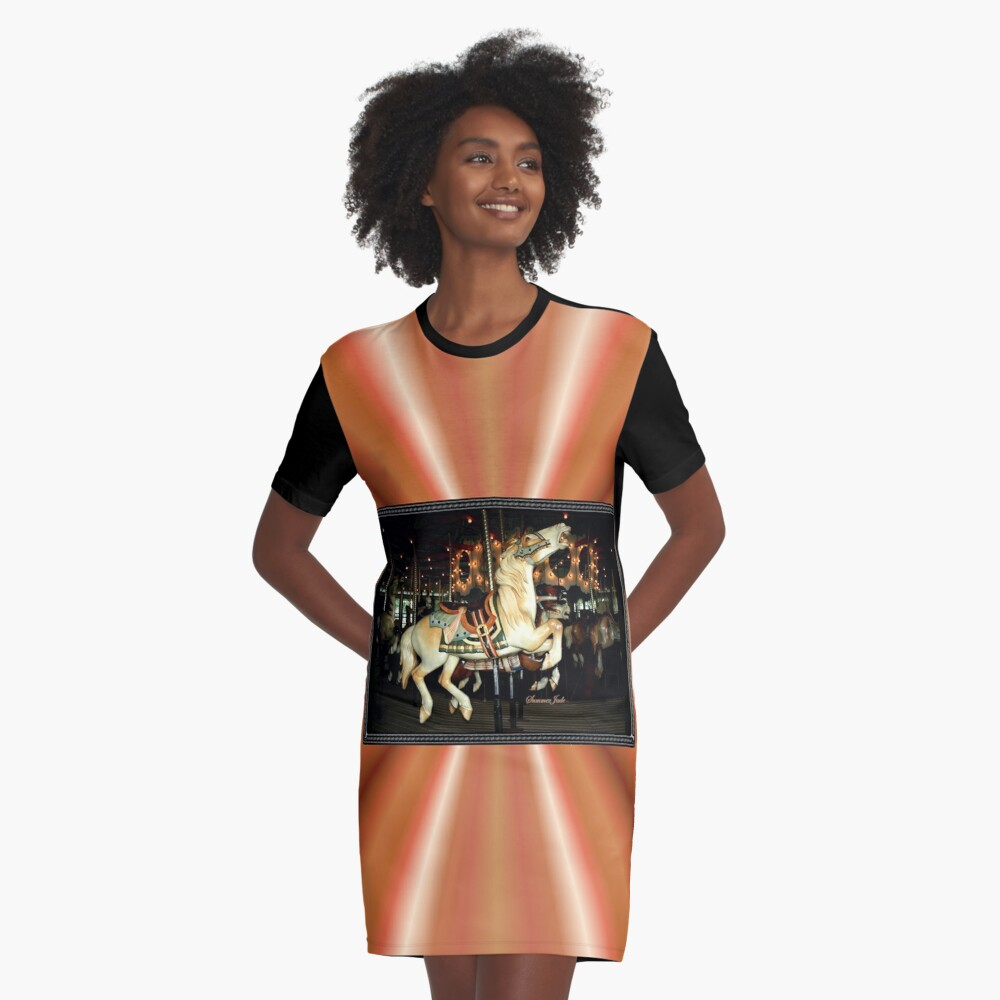 Beautiful Horse on the Carousel Graphic T-Shirt Dress