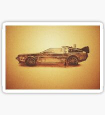 Lost in the Wild Wild West! (Golden Delorean Doubleexposure Art) Sticker