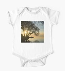 Golden Tranquility - Lacy Tree Silhouettes on the Lake Shore Kids Clothes