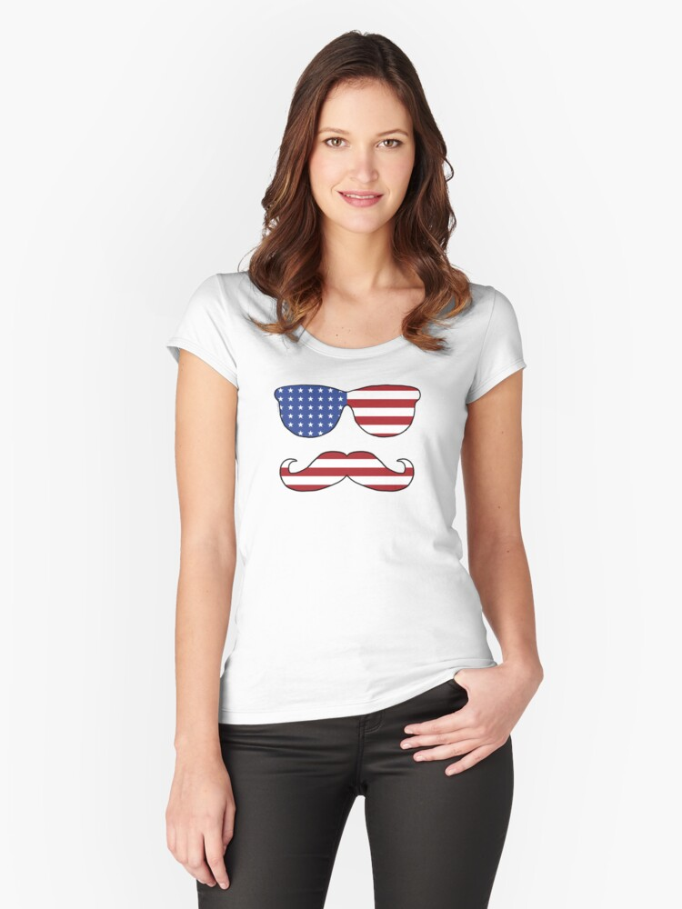 Patriotic Funny Face Women's Fitted Scoop T-Shirt Front