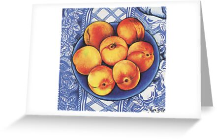 Peaches on a Blue Plate by YouBeaut Designs