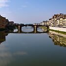 Bridge and Buildings ~ Reflections on the Arno River by Lucinda Walter