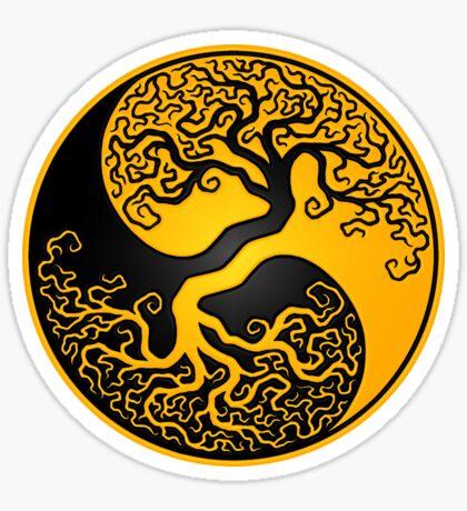 Gelber und schwarzer Baum des Lebens Yin Yang Sticker