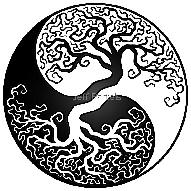 quotwhite and black tree of life yin yangquot stickers by jeff
