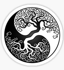 White and Black Tree of Life Yin Yang Sticker