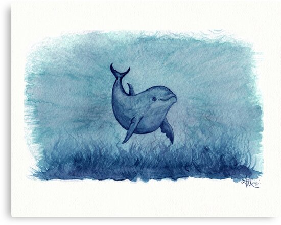 """Notches Blue"" ~ watercolor dolphin painting by Amber Marine by Amber Marine ~ Wildlife Artist"