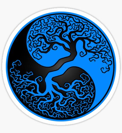 Blue and Black Tree of Life Yin Yang Sticker