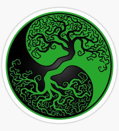 Green and Black Tree of Life Yin Yang Sticker