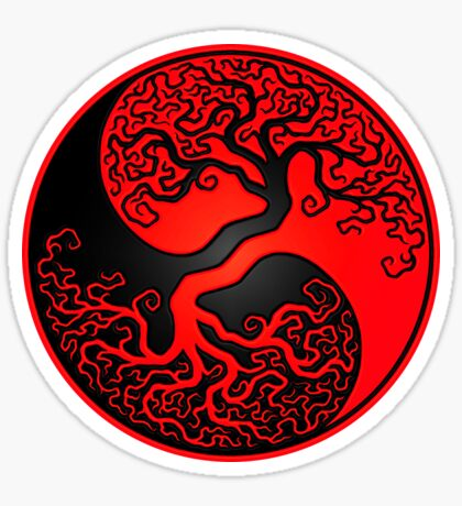 Red and Black Tree of Life Yin Yang Sticker