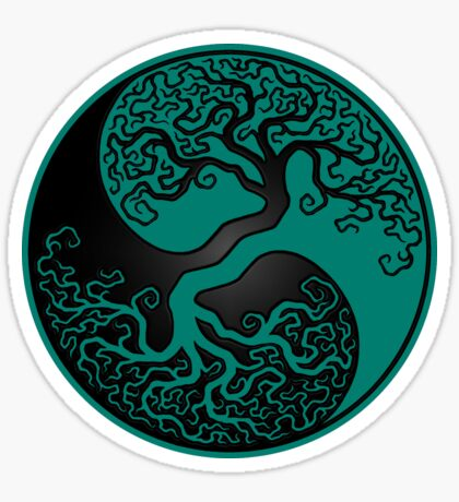Teal Blue and Black Tree of Life Yin Yang Sticker