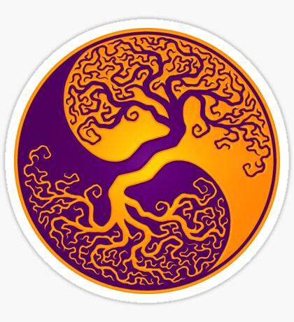 Purple and Yellow Tree of Life Yin Yang Sticker