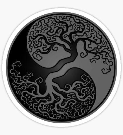Gray and Black Tree of Life Yin Yang Sticker