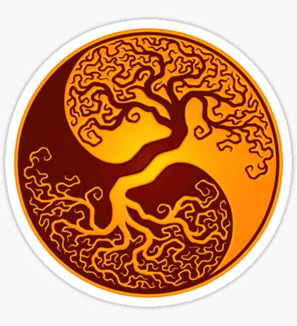 Red and Yellow Tree of Life Yin Yang Sticker