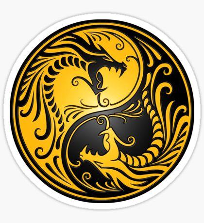 Yin Yang Dragons Yellow and Black Sticker