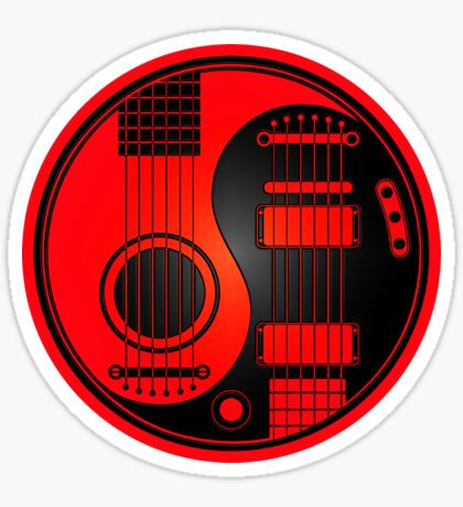 Red and Black Acoustic Electric Guitars Yin Yang Sticker