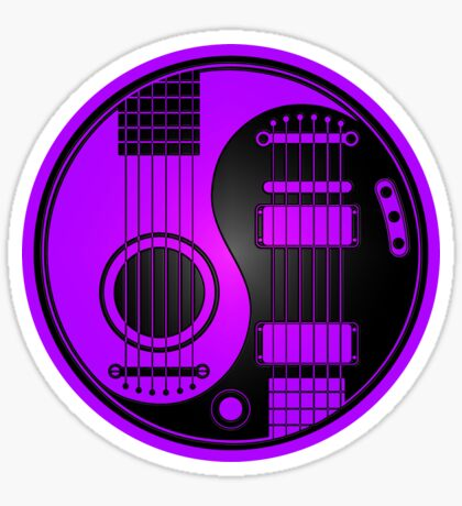Purple and Black Acoustic Electric Guitars Yin Yang Sticker