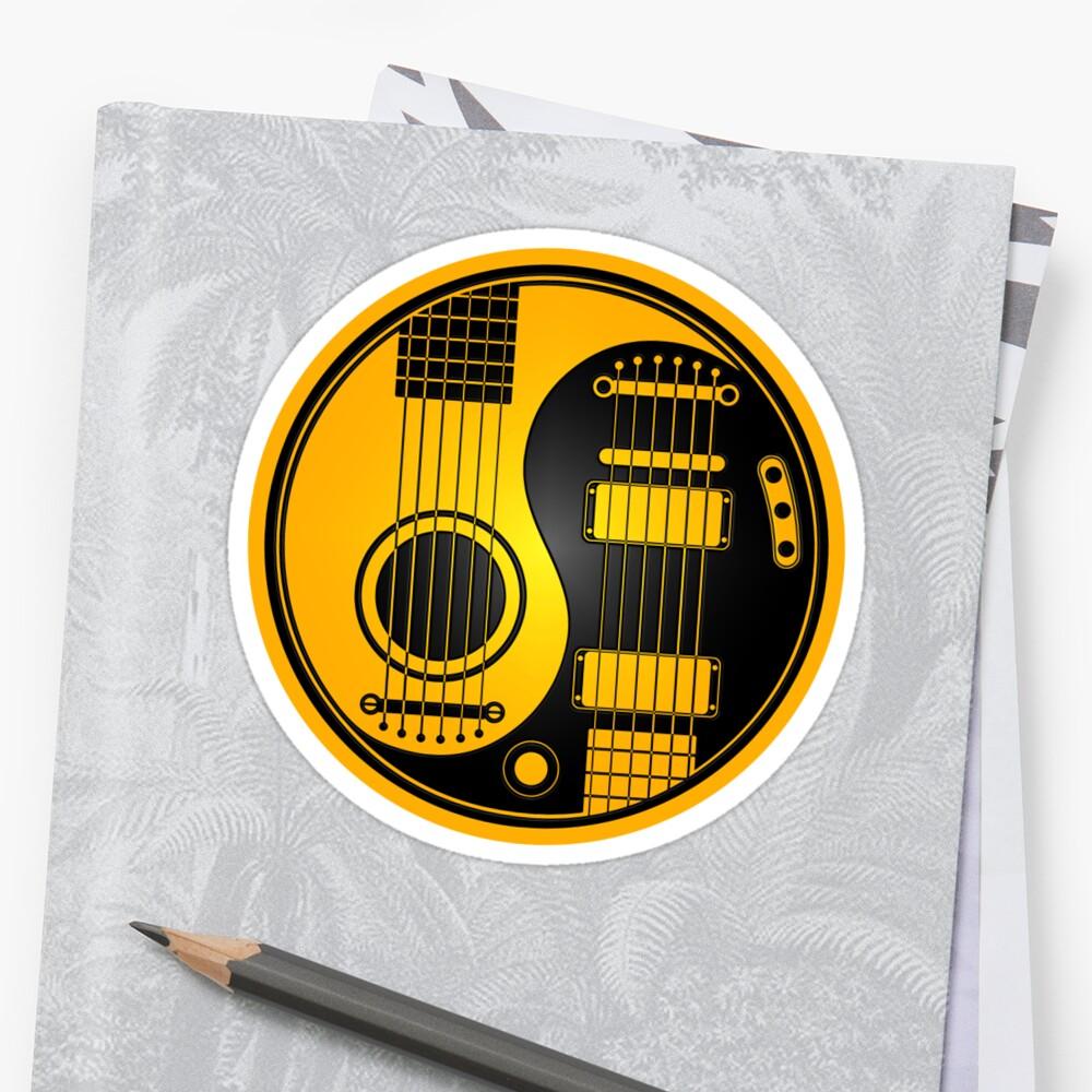 Yellow and Black Acoustic Electric Guitars Yin Yang\
