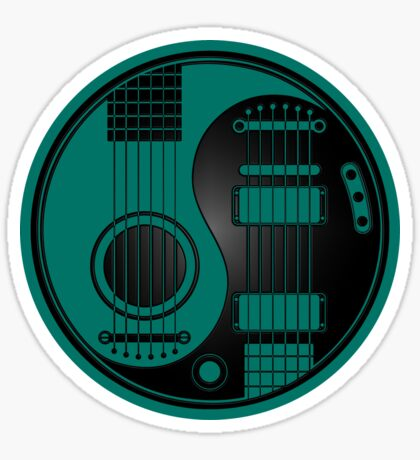 Teal Blue and Black Acoustic Electric Guitars Yin Yang Sticker