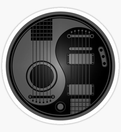 Gray and Black Acoustic Electric Guitars Yin Yang Sticker