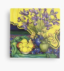 Winter Blooms with Lemons and Pansies Metal Print