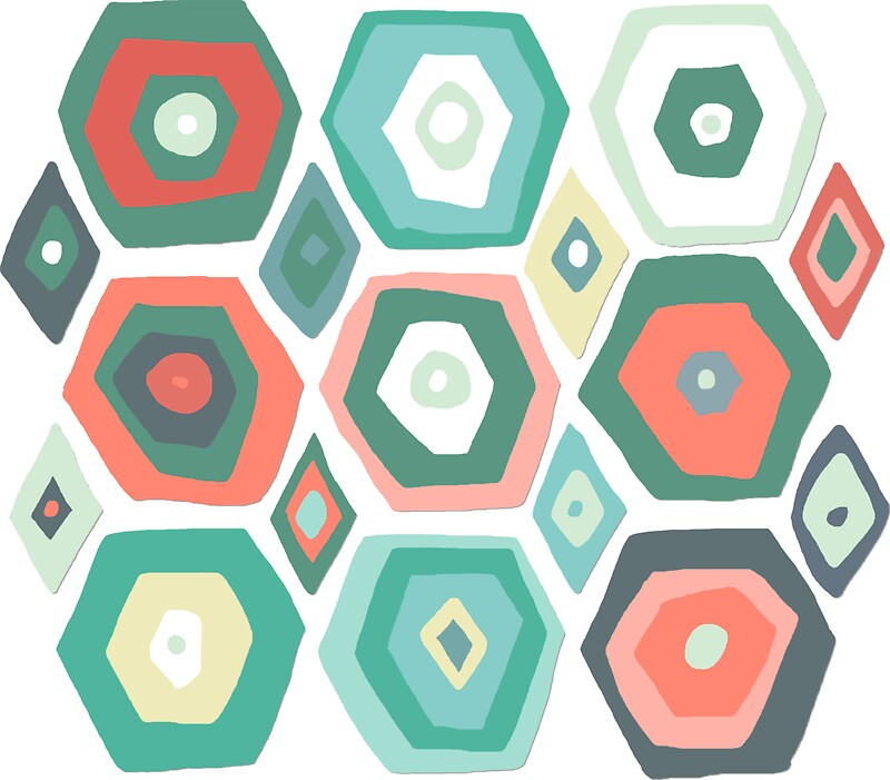 """""""hex Diamond Coral Mint"""" Stickers By Sharon Turner"""