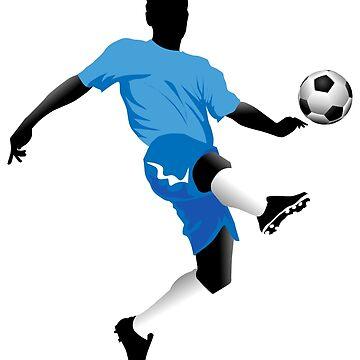 Soccer player in blue shirt dribble a ball by lovingangela