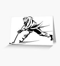 Ice hockey players silhouette Greeting Card