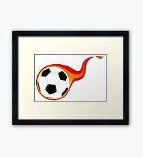 Flaming soccer ball Framed Print